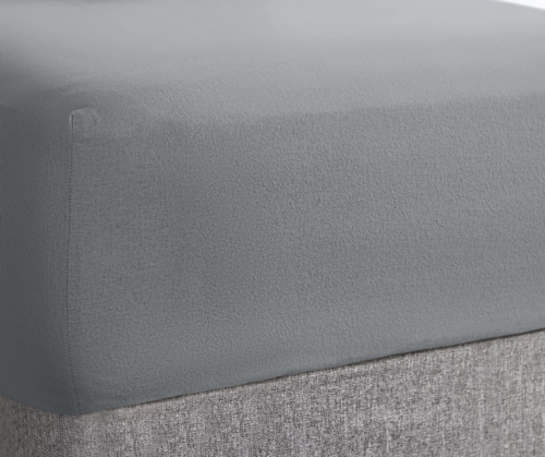 "Super Soft Stretch Terry Towel 10"" Deep Fitted Sheet, All Sizes, Grey Colour"